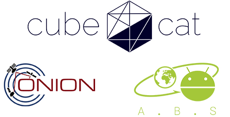 Logos of NanoSat Lab's nano-satellite missions and research projects